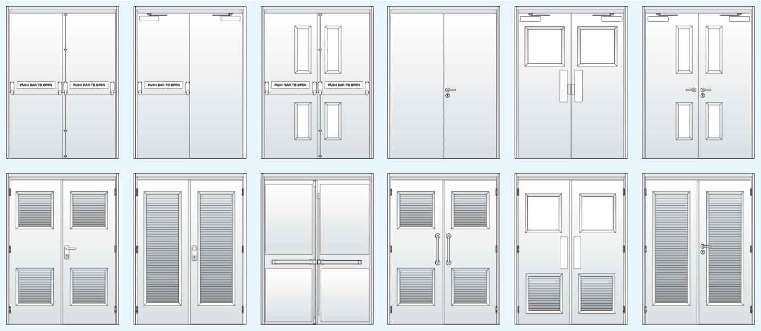 Common hardware steel double doors
