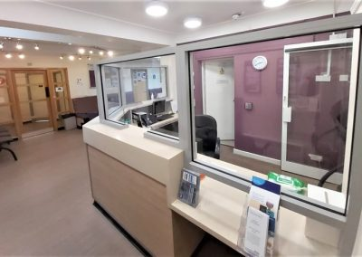 Bespoke covid-19 screen for NHS reception counter